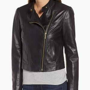 Michael Kors Moto Black Cropped Leather Jacket S